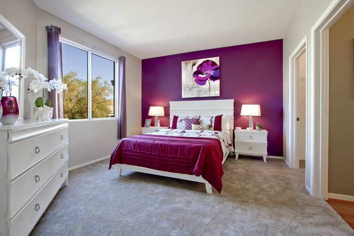 purple accent wall room