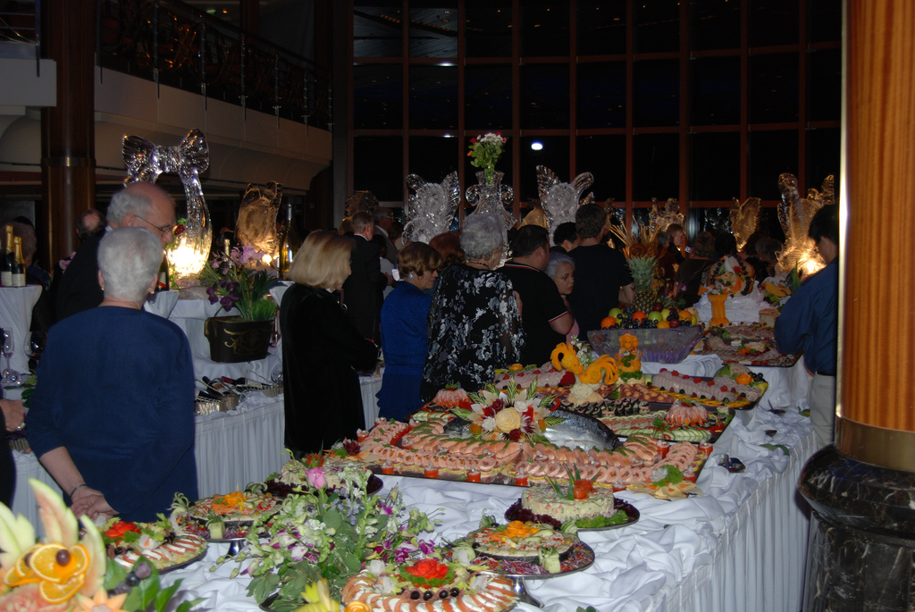 People waiting at the Grand Gala Buffet