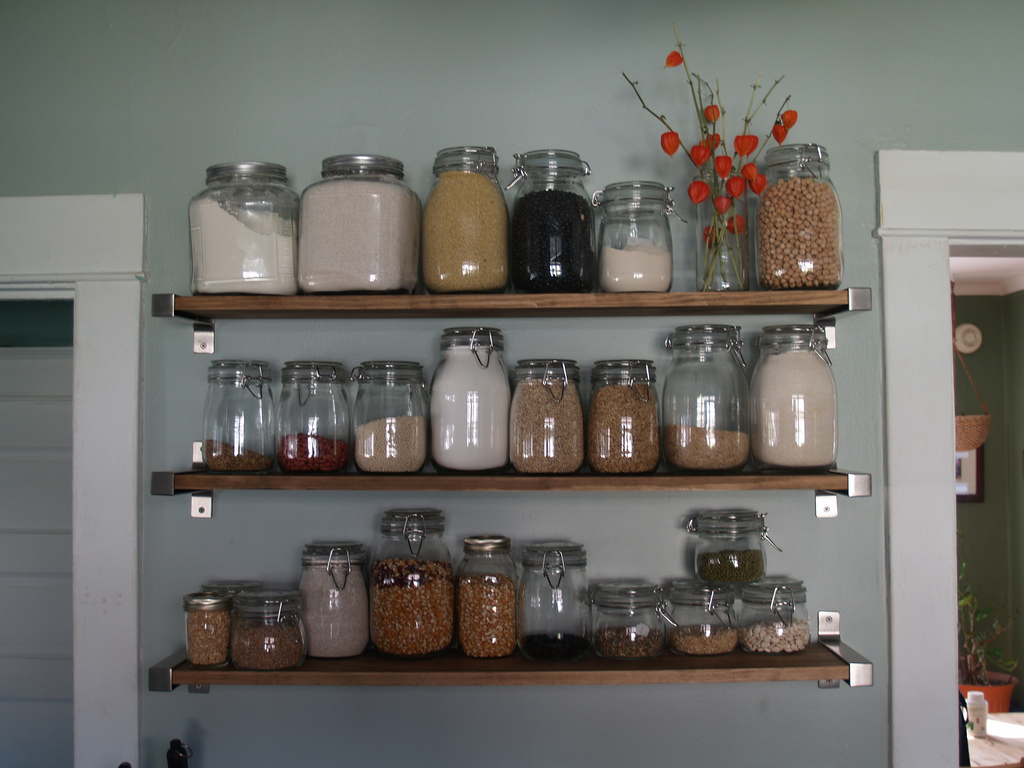 organized containers in kitchen