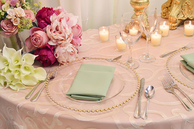 pastel linens dining table