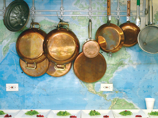 pots hanging in kitchen