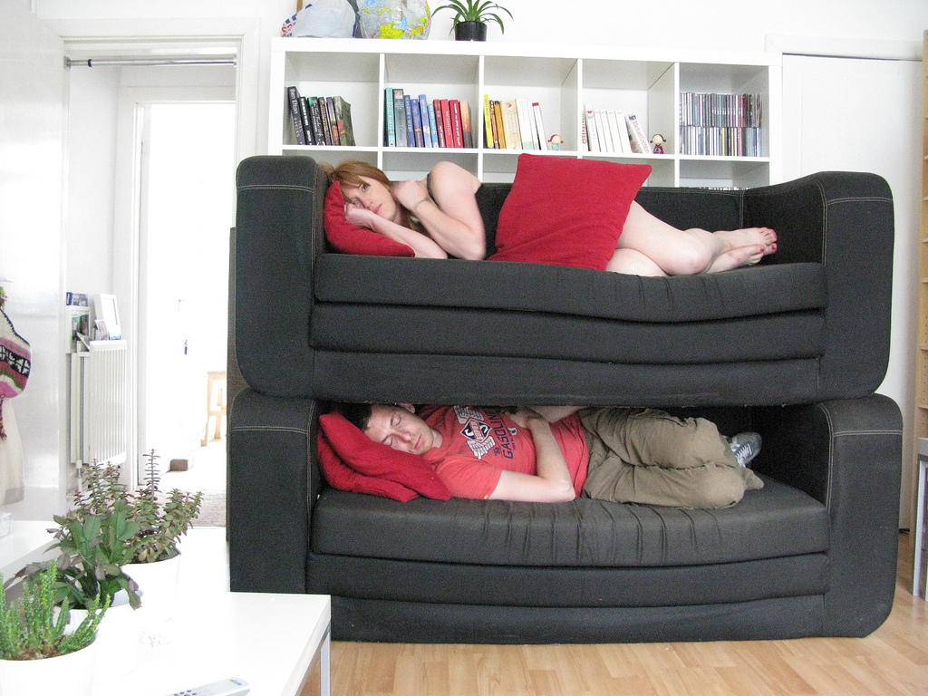 Sofas stacked on top of each other