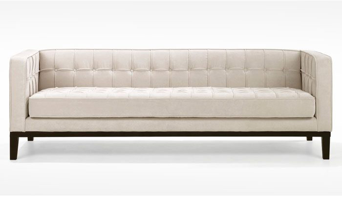 tufted contemporary chenille fabric sofa in natural color