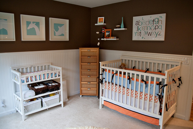 Boy's Nursery Design in Aqua/Brown/Orange colors