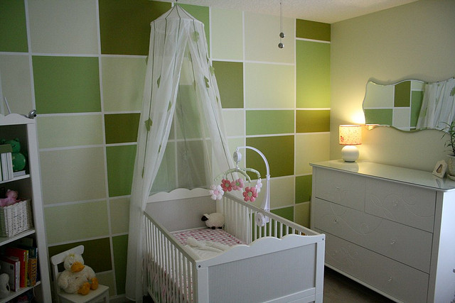 Nursery with calming different hues of greens