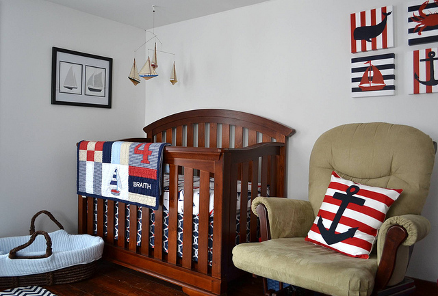 The nautical theme is a popular nursery design