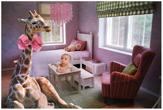 Is that a giraffe in the nursery?