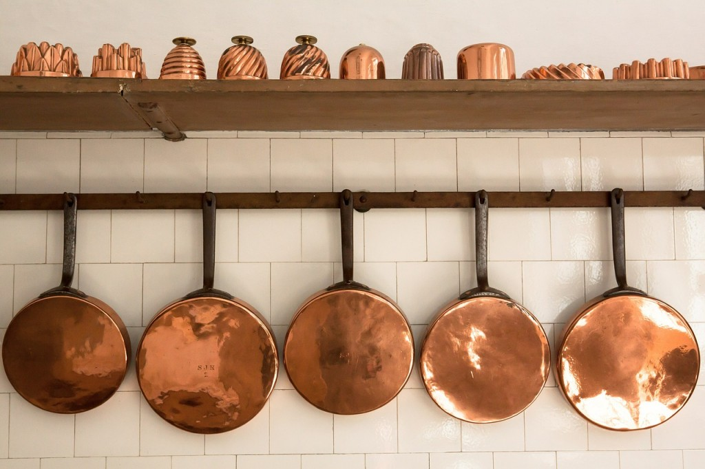 pans in kitchen