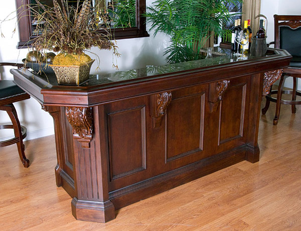 Traditional luxury grade wood bar for home