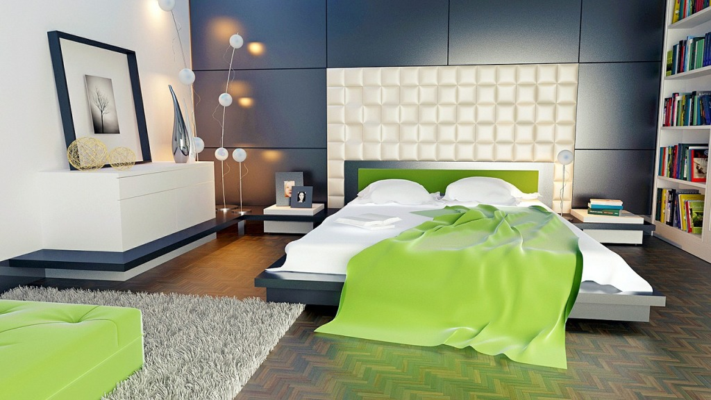 contemporary bedroom with painted accent wall decor