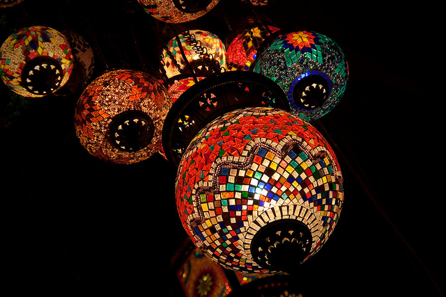 Beautiful Moroccan lights in vibrant colors