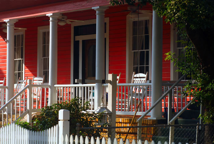 porch with rocking chairs at southern home